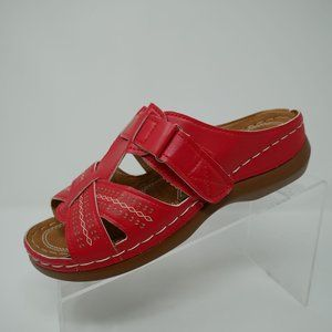 Strappy Open Toe Red Sandals Size 39 Eur NEW